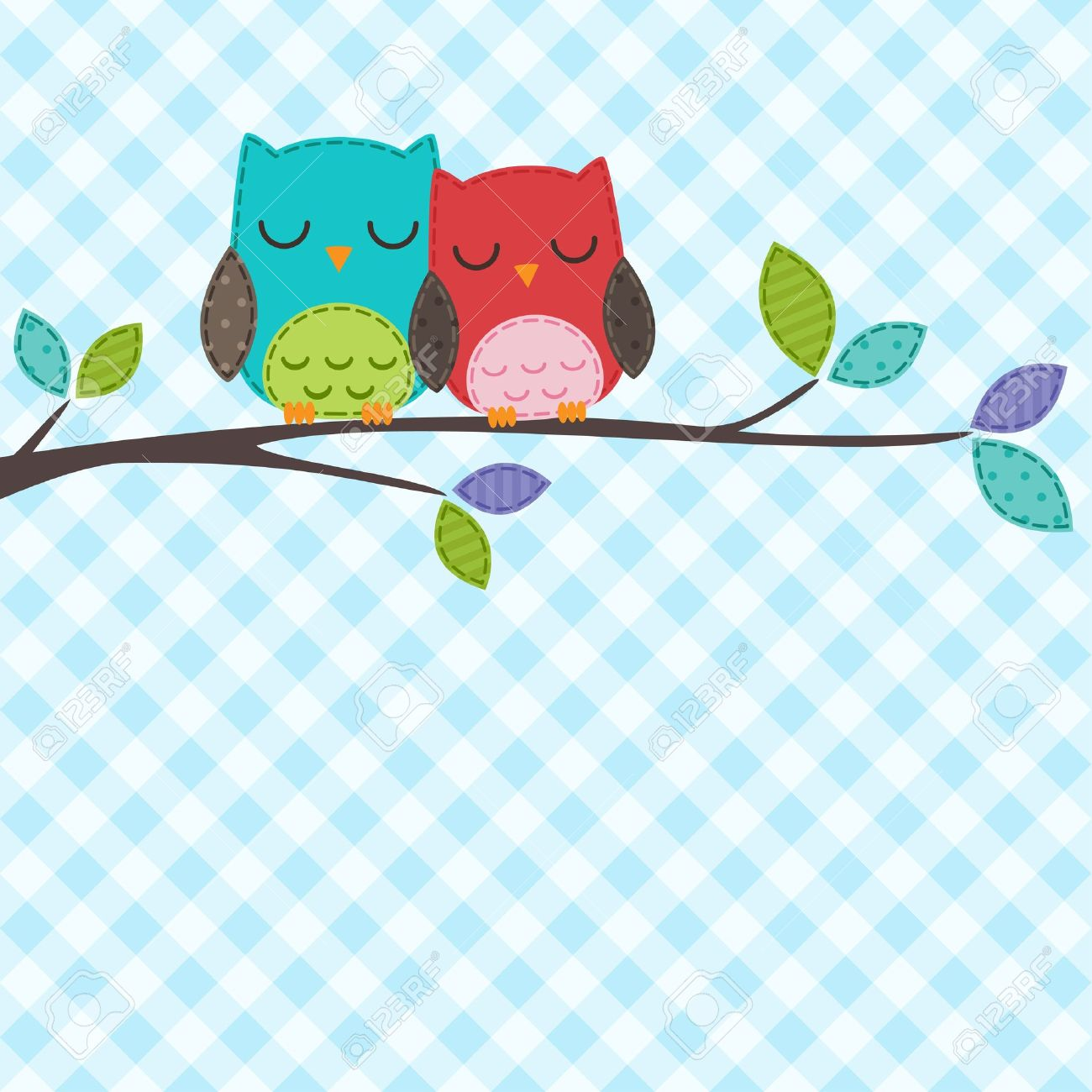 backgrounds with couple of owls on the branch - 13843840