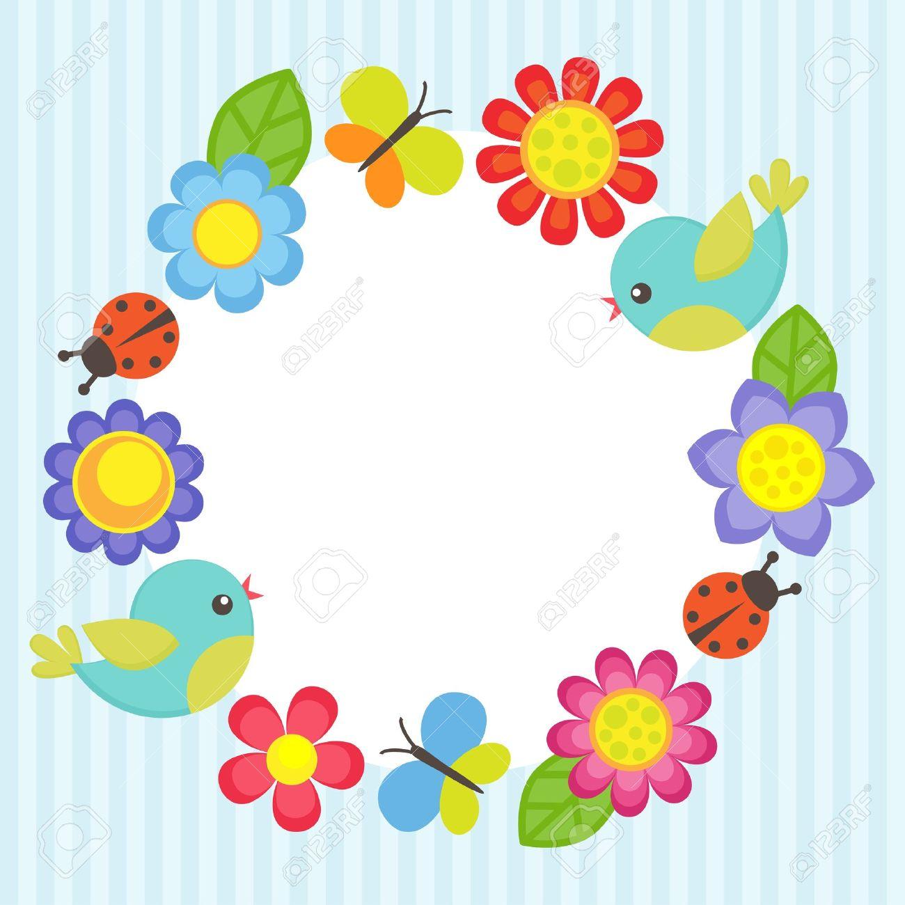 Rahmen Mit Blumen, Vögel, Marienkäfer Und Schmetterlinge Lizenzfrei ...