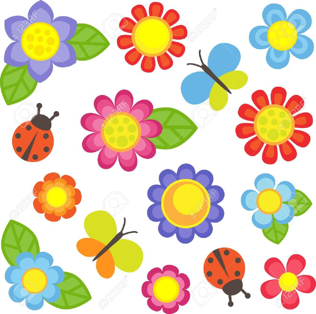 vector flowers butterflies and ladybugs royalty free cliparts