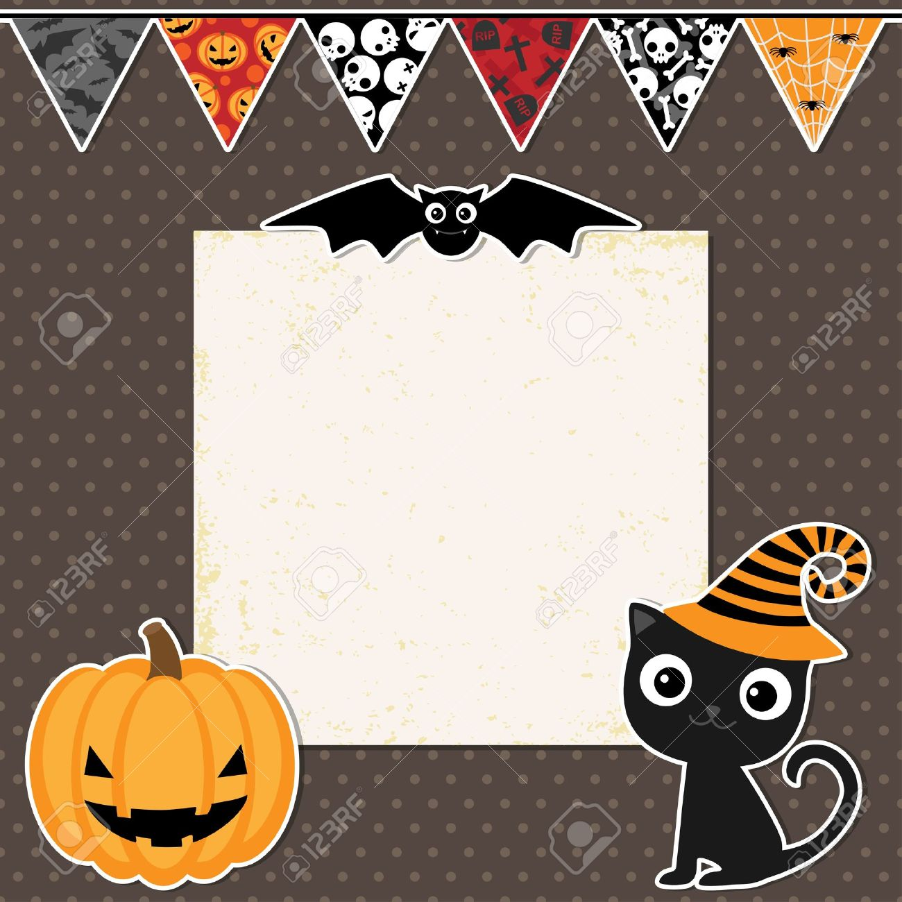 Cute Halloween Party Card With Space For Text Royalty Free ...