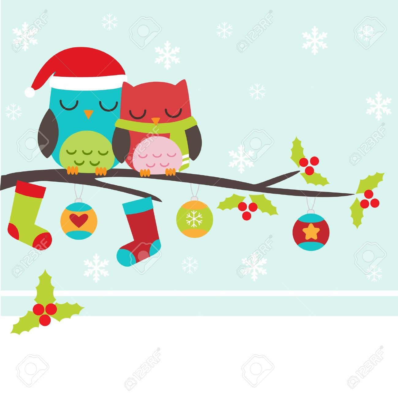 Christmas card with couple of owls Stock Vector - 15133357
