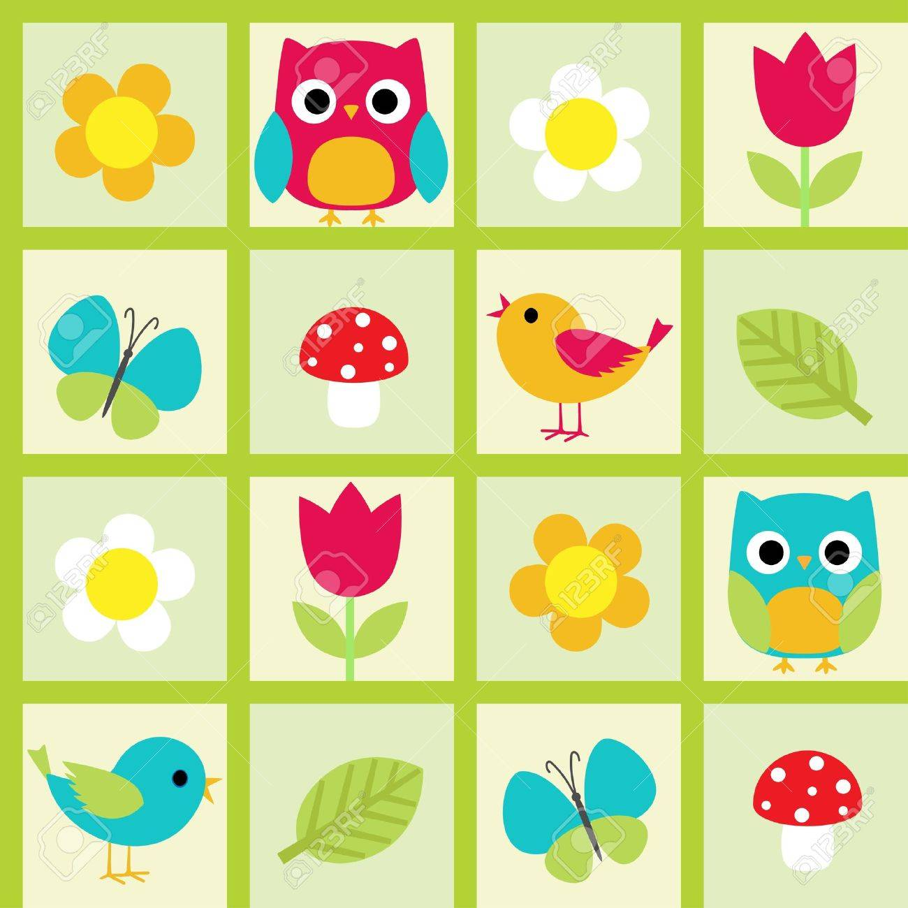 Seamless pattern with birds and flowers - 15133353