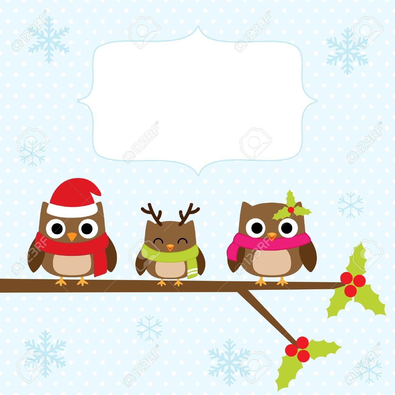 tarjeta de navidad con la familia de los bhos foto de archivo