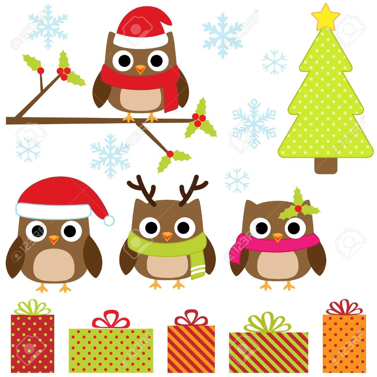 tarjeta navidad nios cute christmas vector conjunto con los buhos divertidos