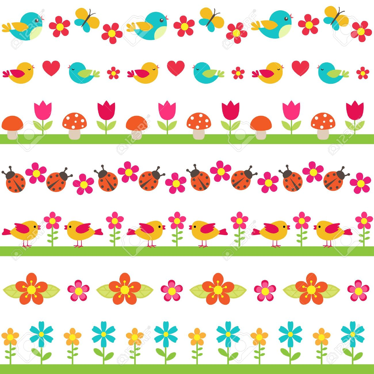cute seamless borders with birds and flowers royalty free cliparts