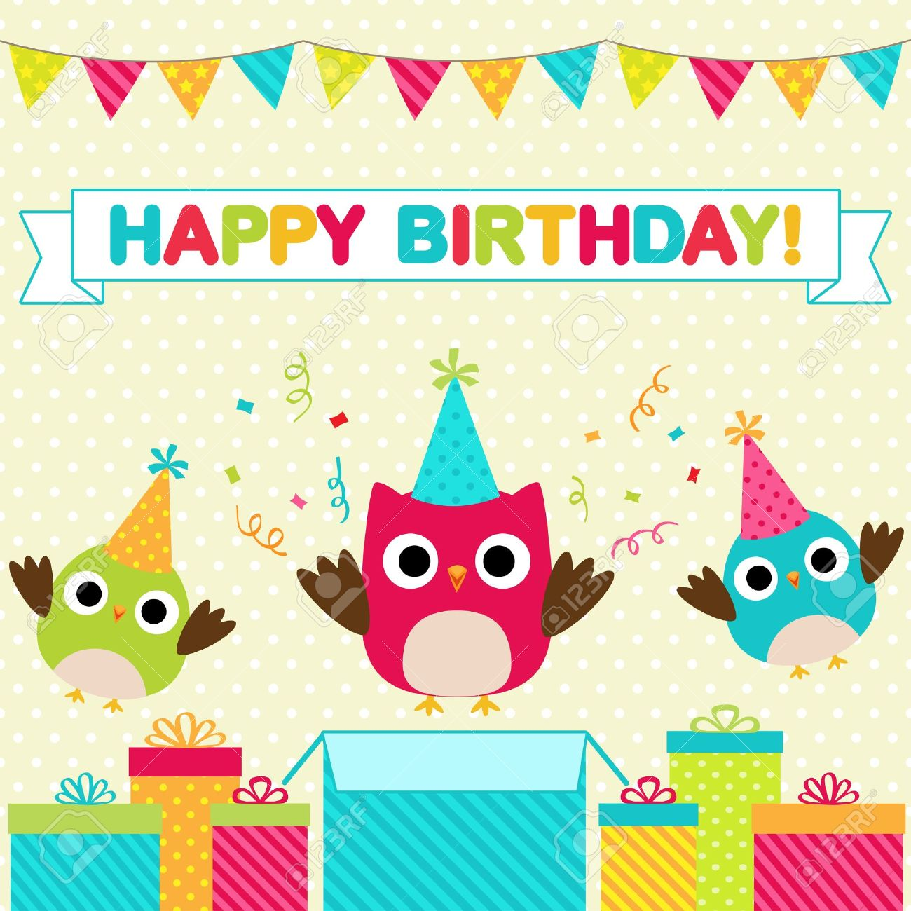 Vector birthday party card with funny birds Stock Vector - 16256921