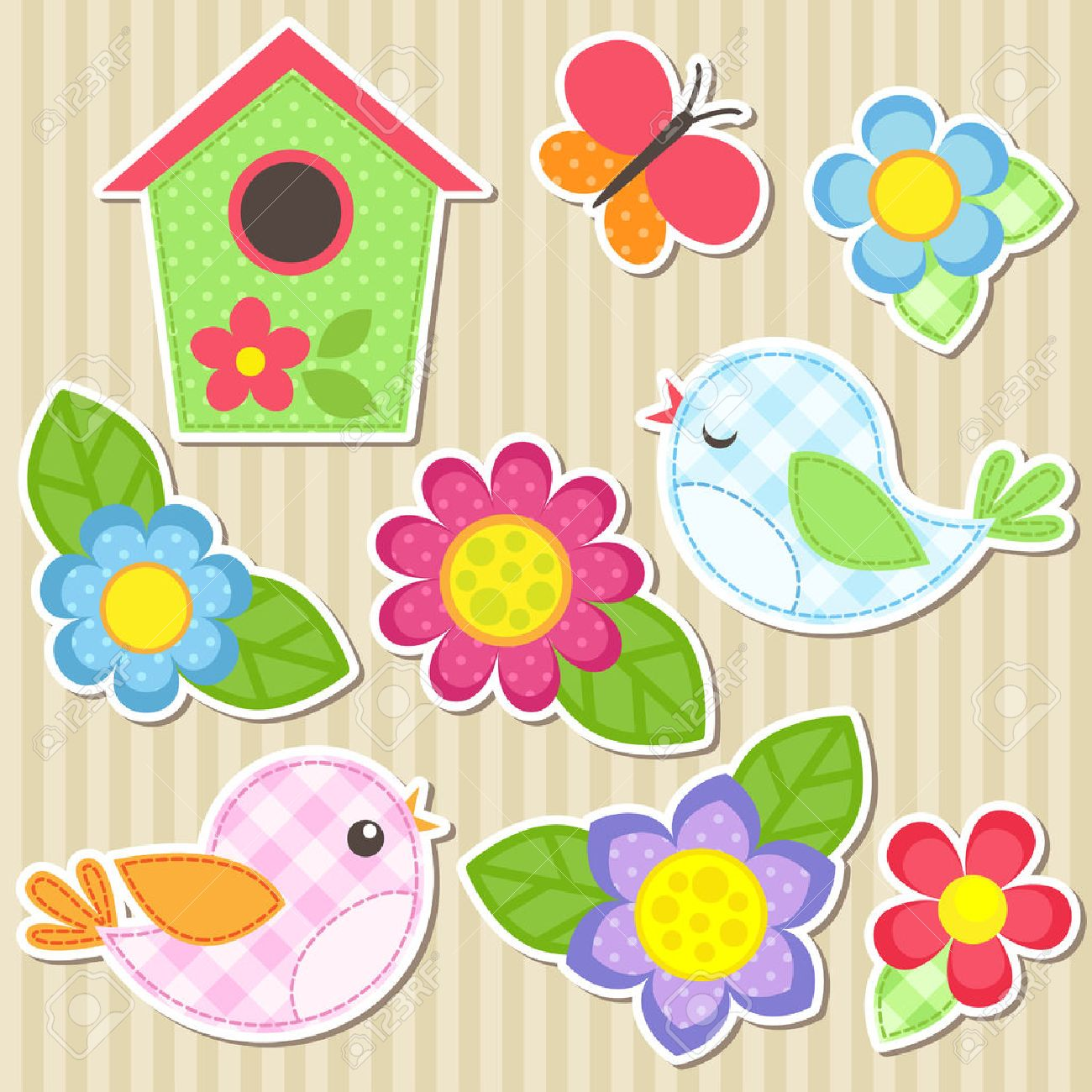 Set of vector flowers, birds, butterfly and birdhouse - 42068521