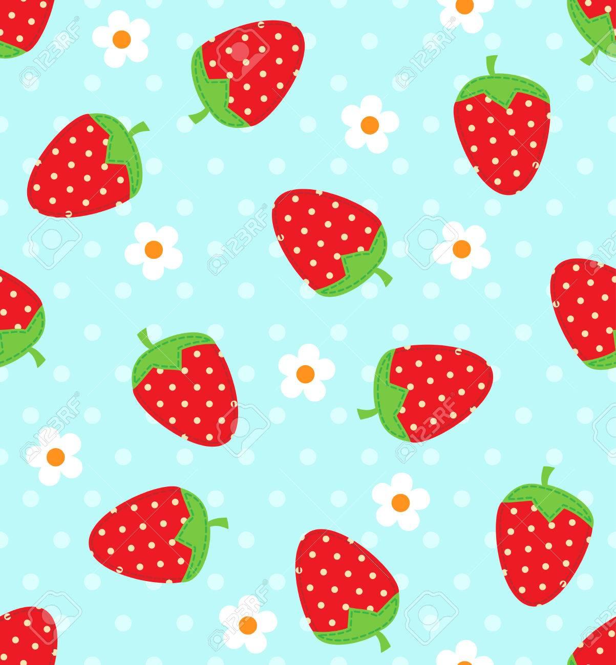 Seamless vector strawberry pattern - 42068584