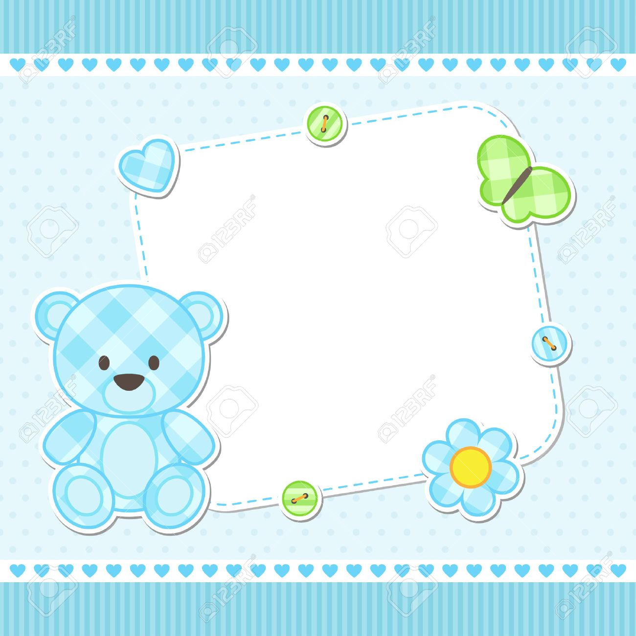 Card with blue teddy bear for boy. Vector template with place for your text Stock Vector - 42440207