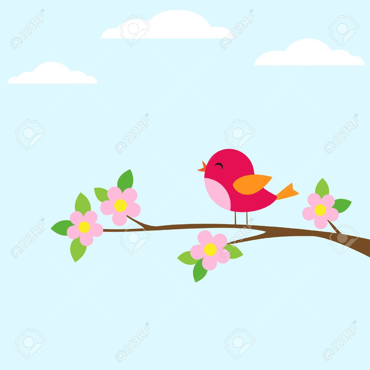 Bird sitting on blooming branch. Vector illustration - 42440224
