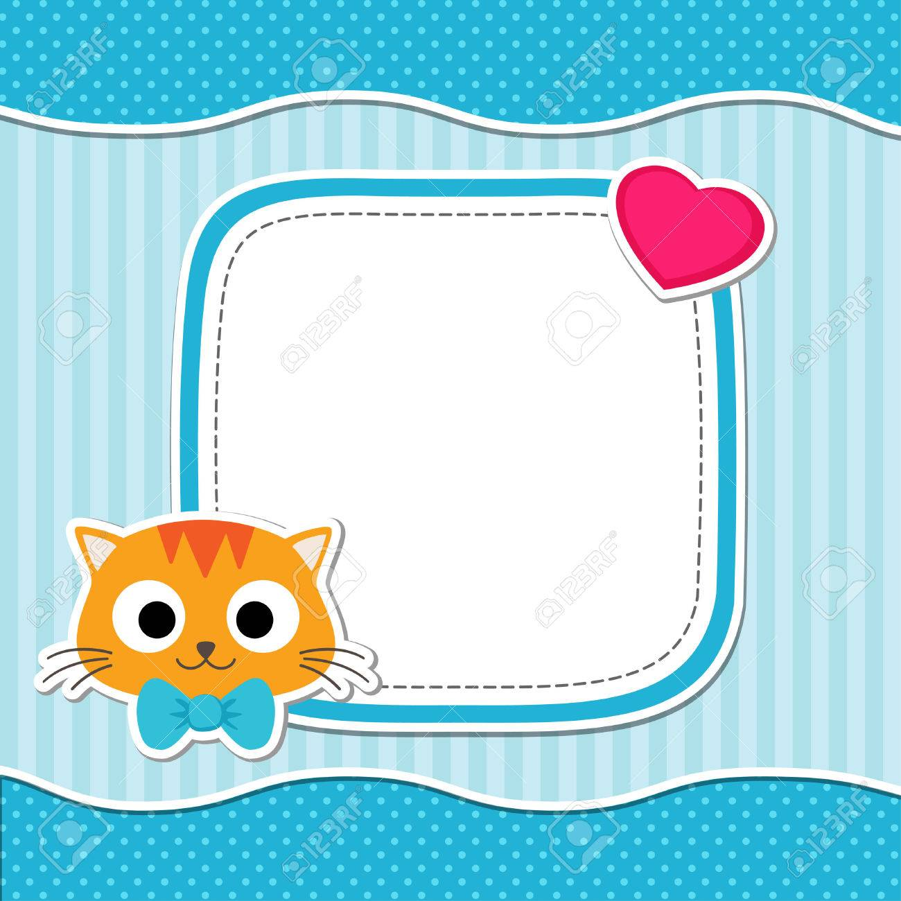 Illustration with cute cat and heart for boy. Vector template with place for your text. Card for baby shower, birth announcement or birthday invitation. - 43278817