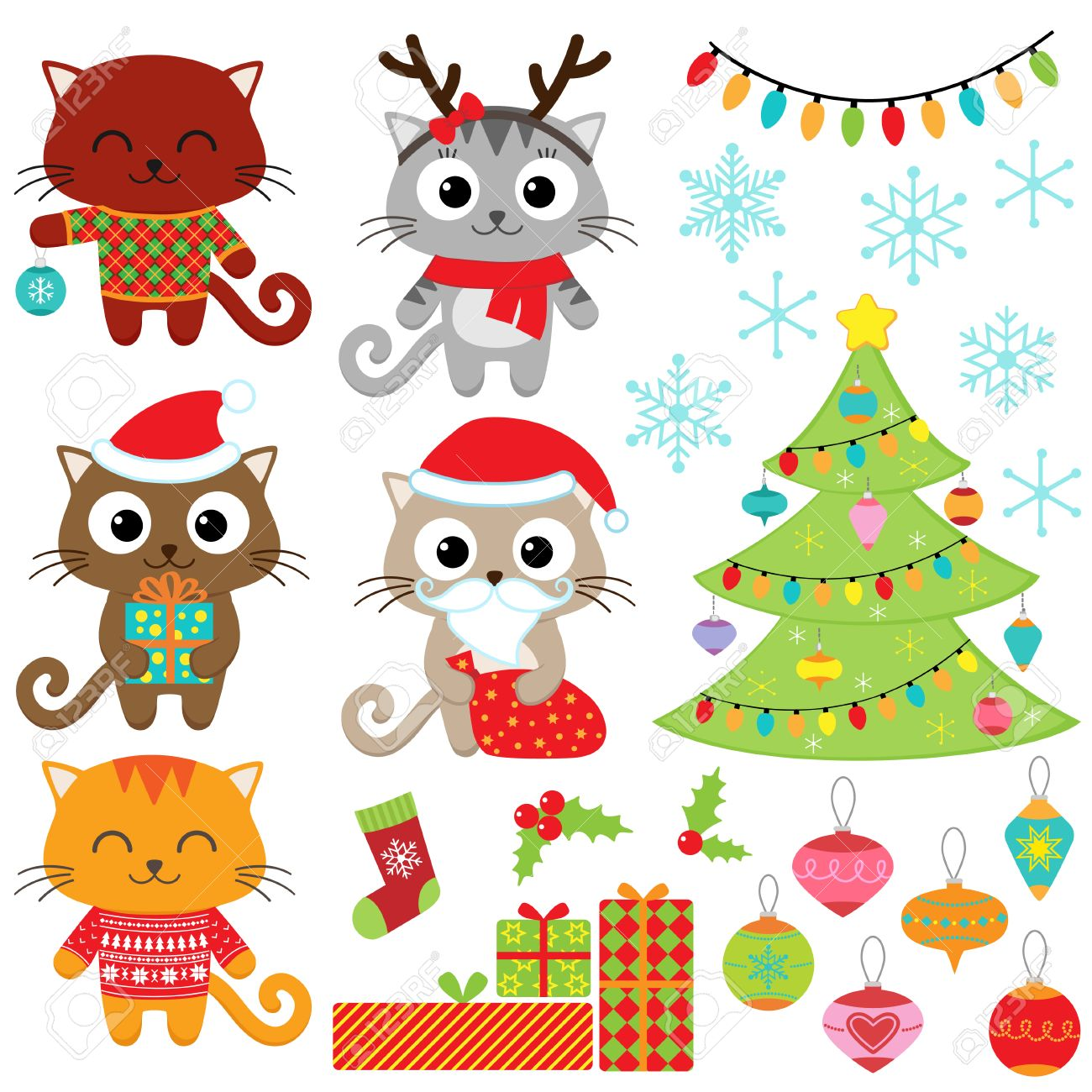 Christmas vector set of cats in costumes, gifts, tree, ornaments and snowflakes - 47948911