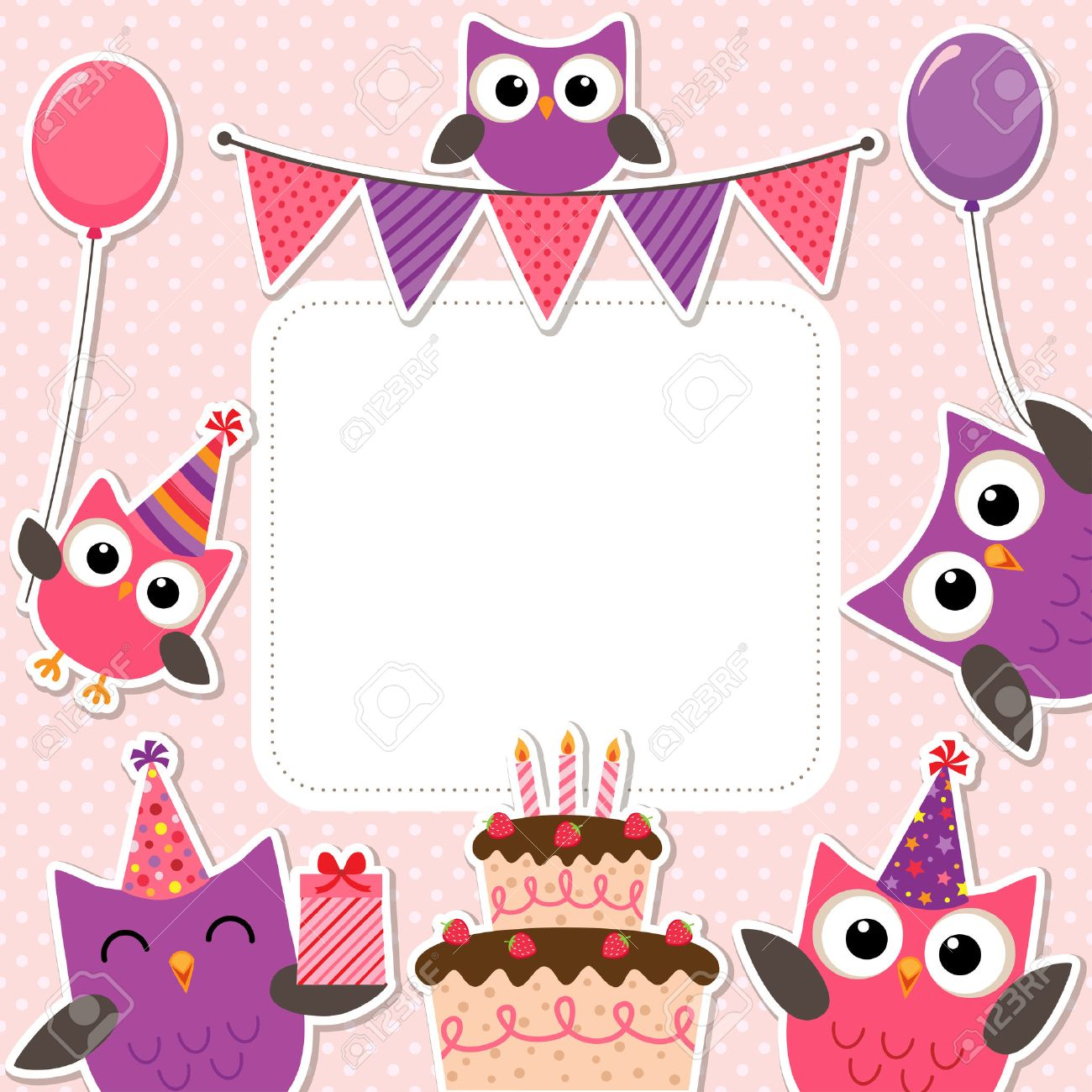 Vector birthday party card with cute owls in pink for girls - 48520036