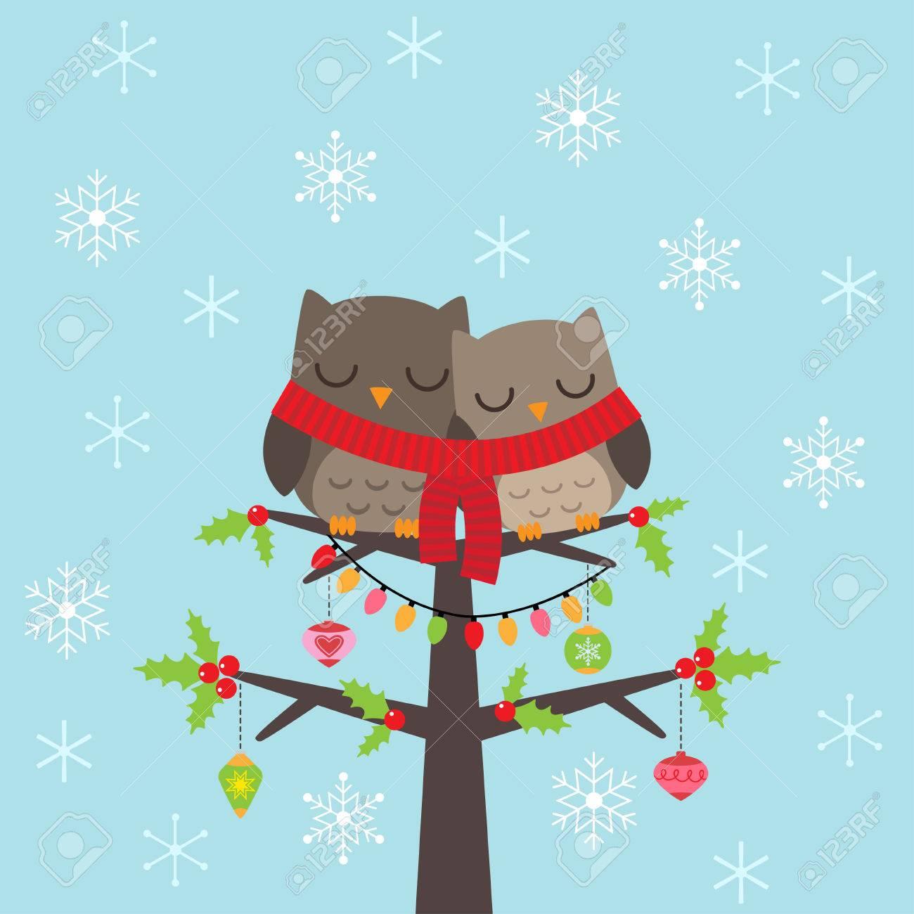 Plantilla De La Tarjeta De Navidad Con Par De Búhos Ilustraciones ...