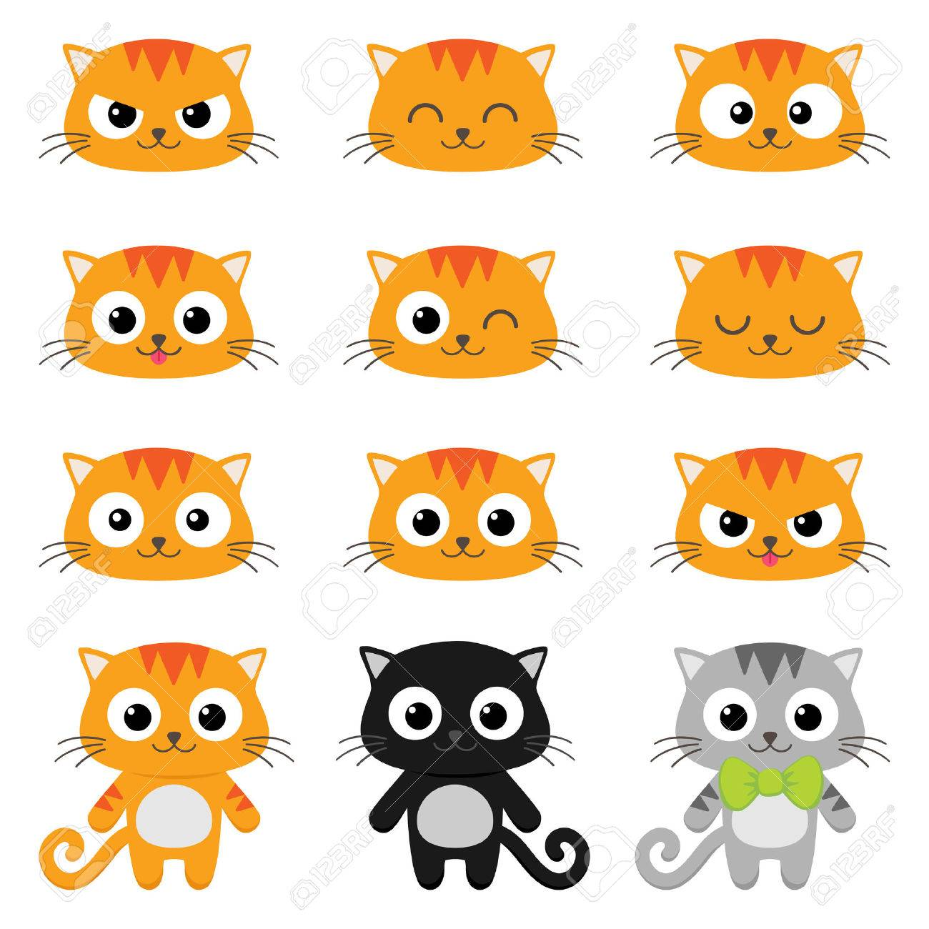 Set of different cartoon cats with various emotions - 52871058