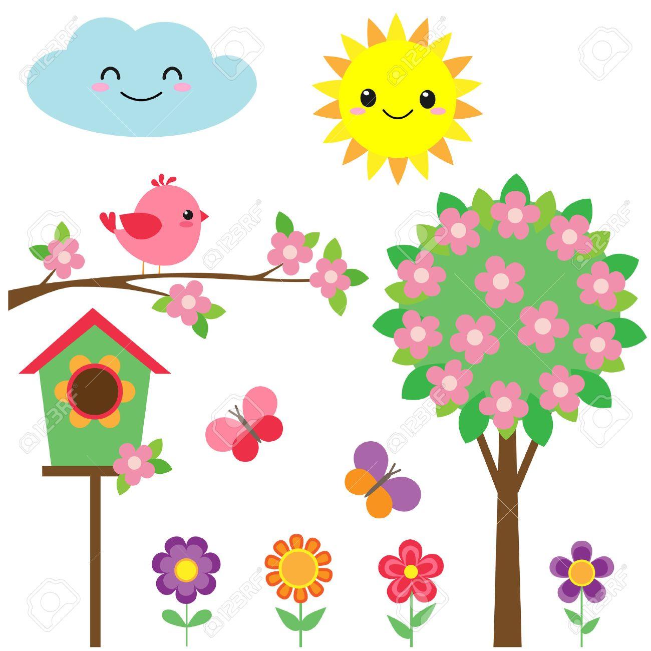 Vector set of birds, flowers, butterflies and blooming tree - 55784443