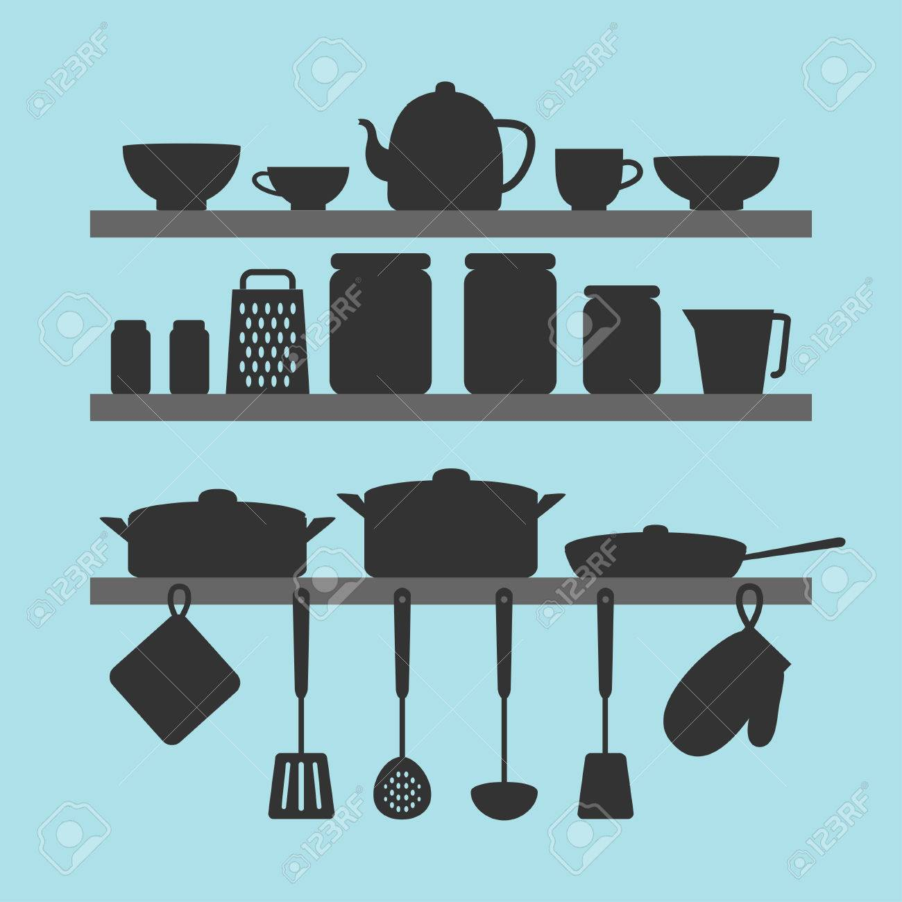 Vector silhouettes of kitchen tools on shelves - 55784528