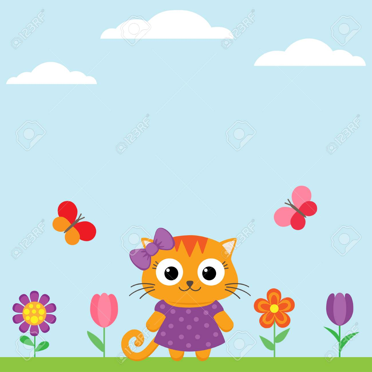 Spring Flower Background With Flowers And Butterflies Royalty Free