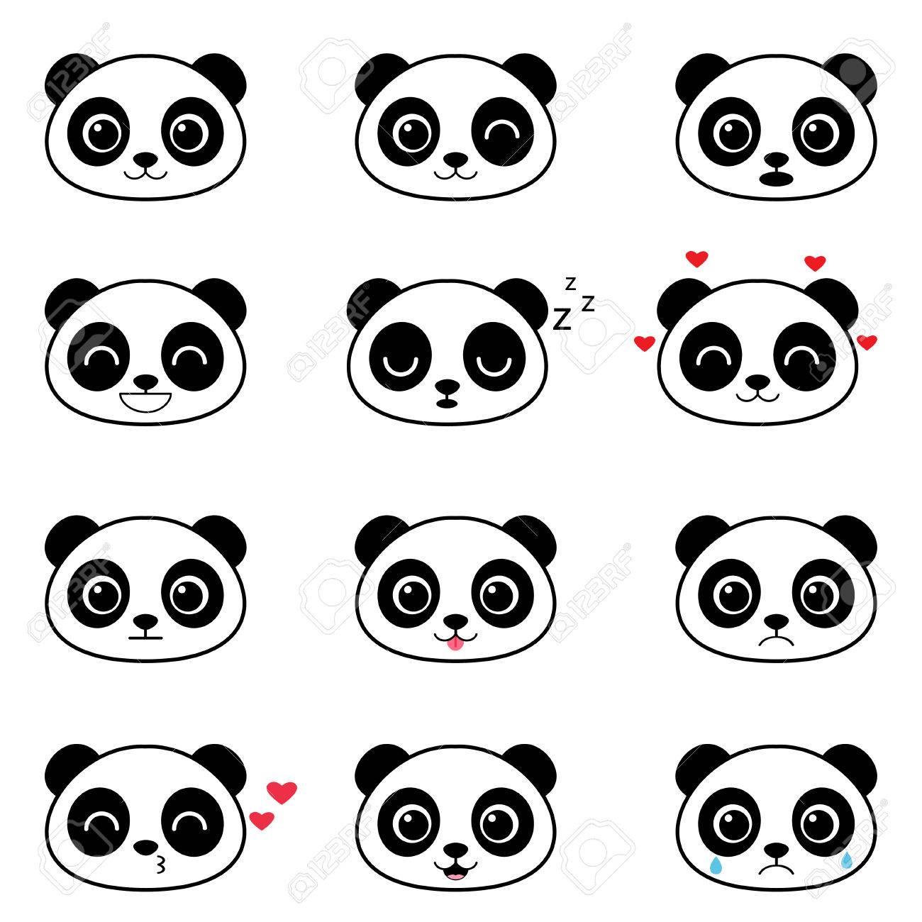 Set Of Cute Cartoon Panda Emotions Royalty Free Cliparts Vectors And Stock Illustration Image 71631204