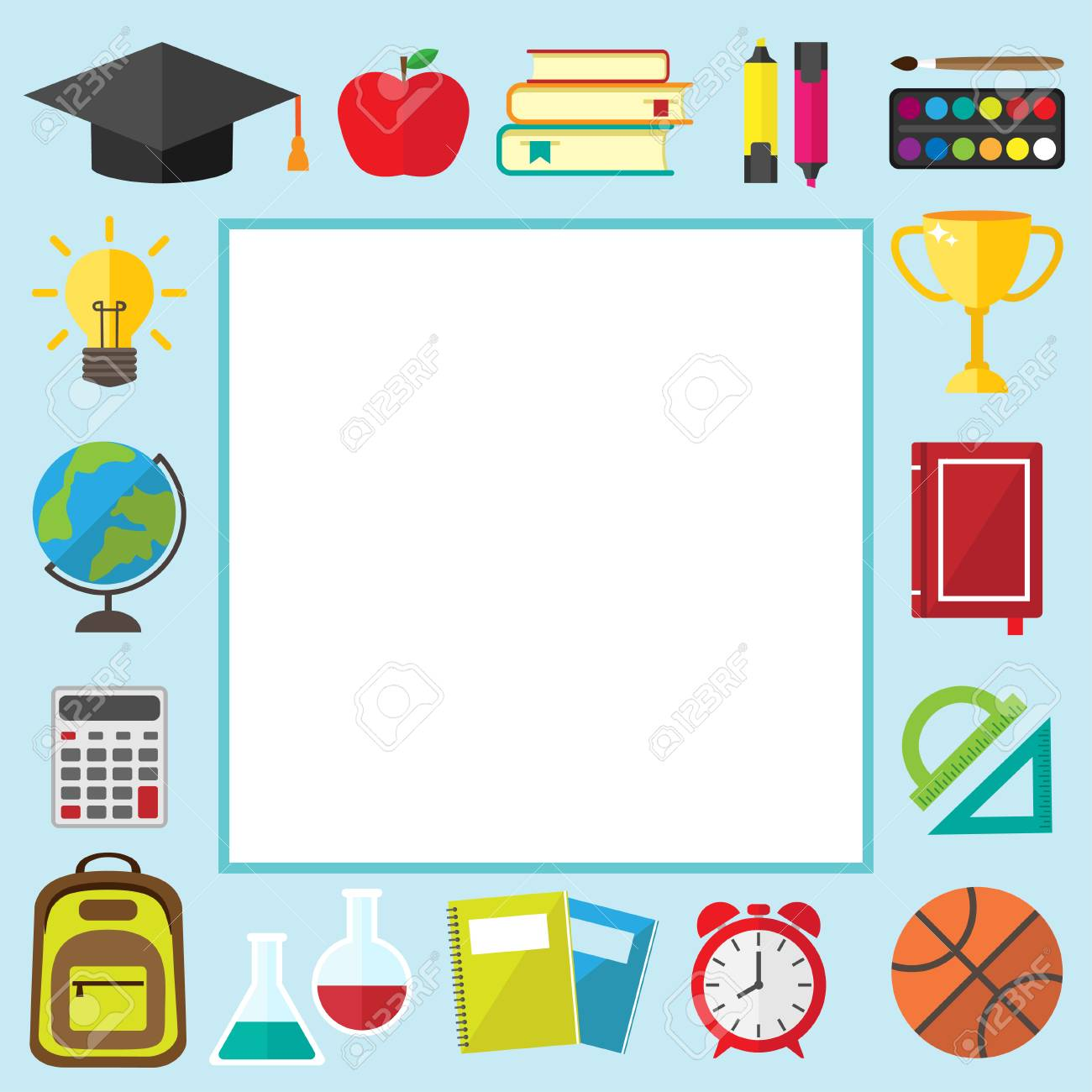 Back To School Frame With Place For Text Graduate Hat Alarm