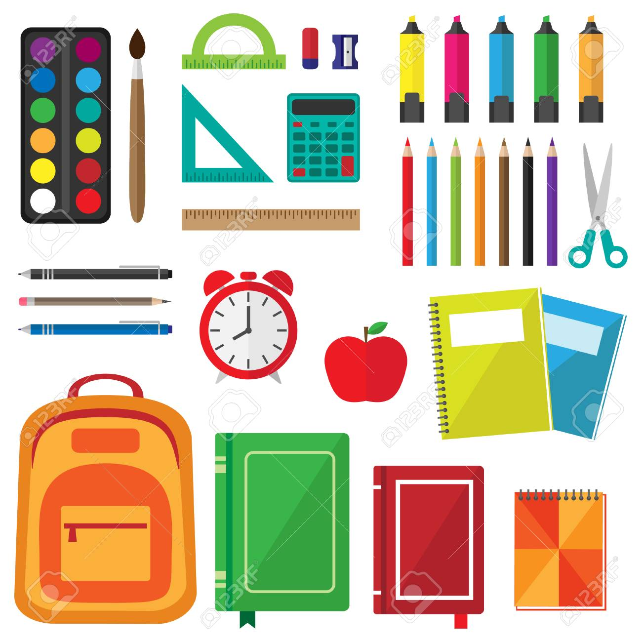 Vector set of school supplies. Back to school background with stationery - 86383784