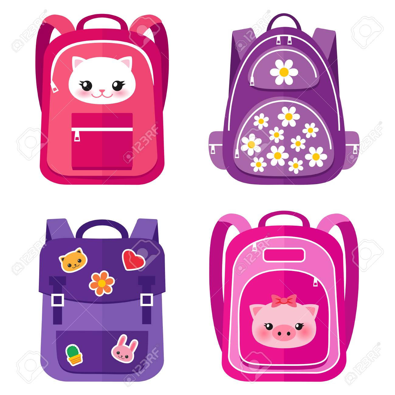 298653df0fb8 Vector set of kids school bags in pink colors