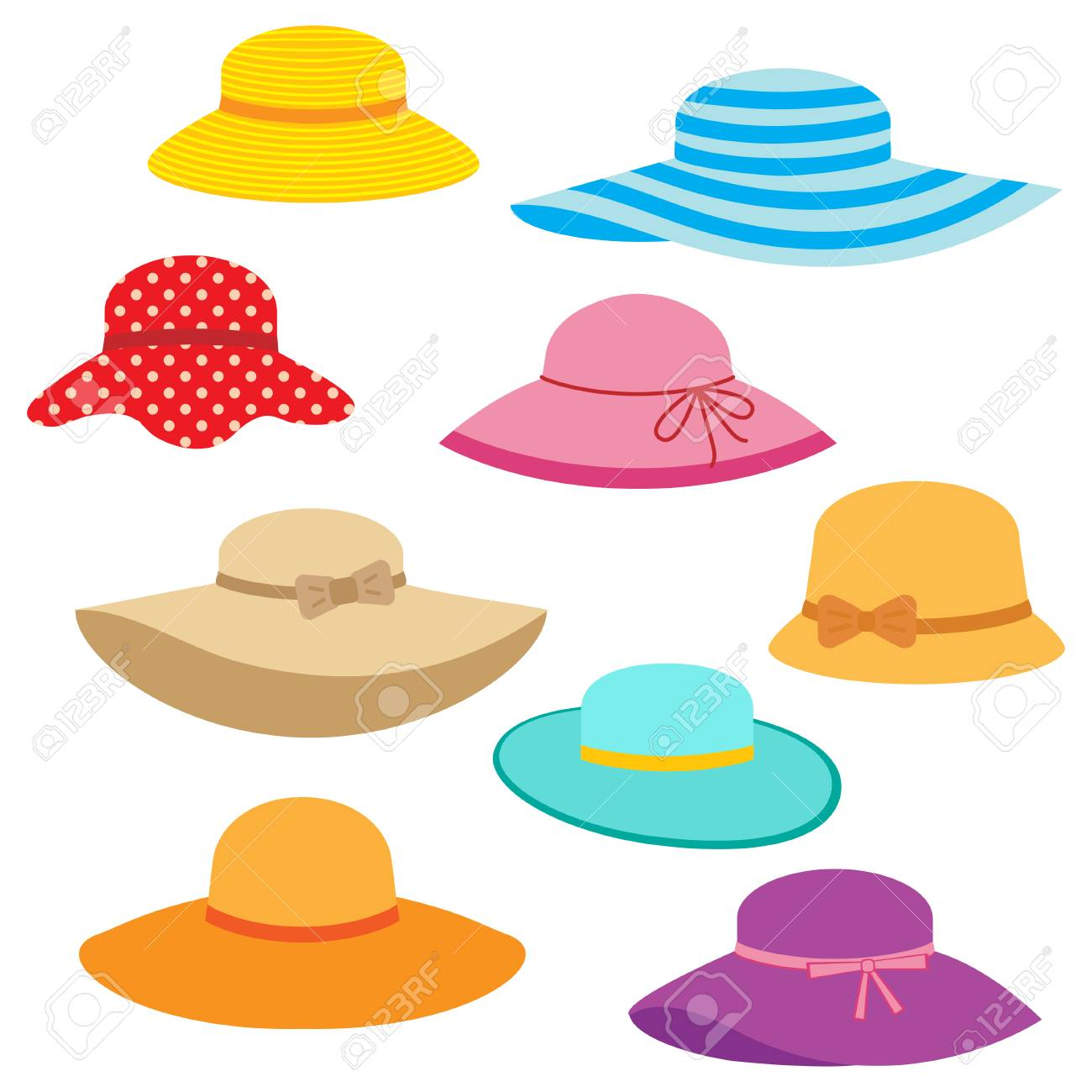 Collection of womens summer hats royalty free cliparts vectors jpg  1300x1300 Womens fedora clipart a14962078a96