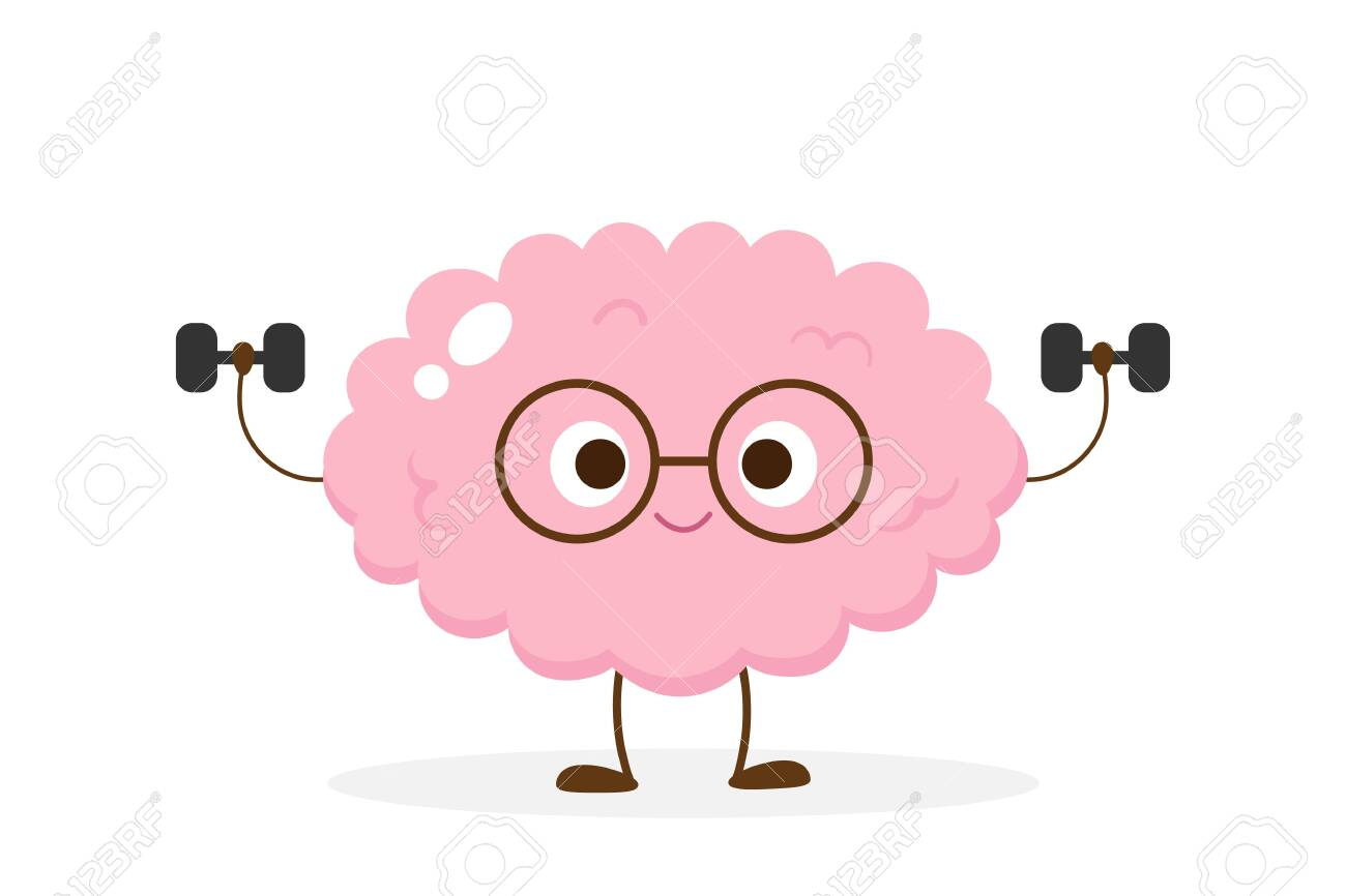 Cartoon Brain Lifting Dumbbells Funny Brain Workout Emoji Vector Royalty Free Cliparts Vectors And Stock Illustration Image 140964453
