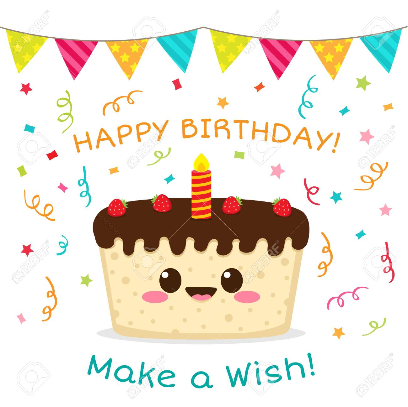 Happy Birthday Card Make A Wish Cute Chocolate Cake With Strawberry Royalty Free Cliparts Vectors And Stock Illustration Image 141605600