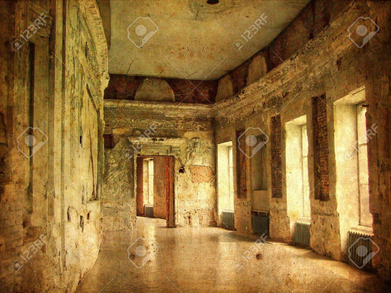 interior of an old palace ruines of a castle stock photo, picture