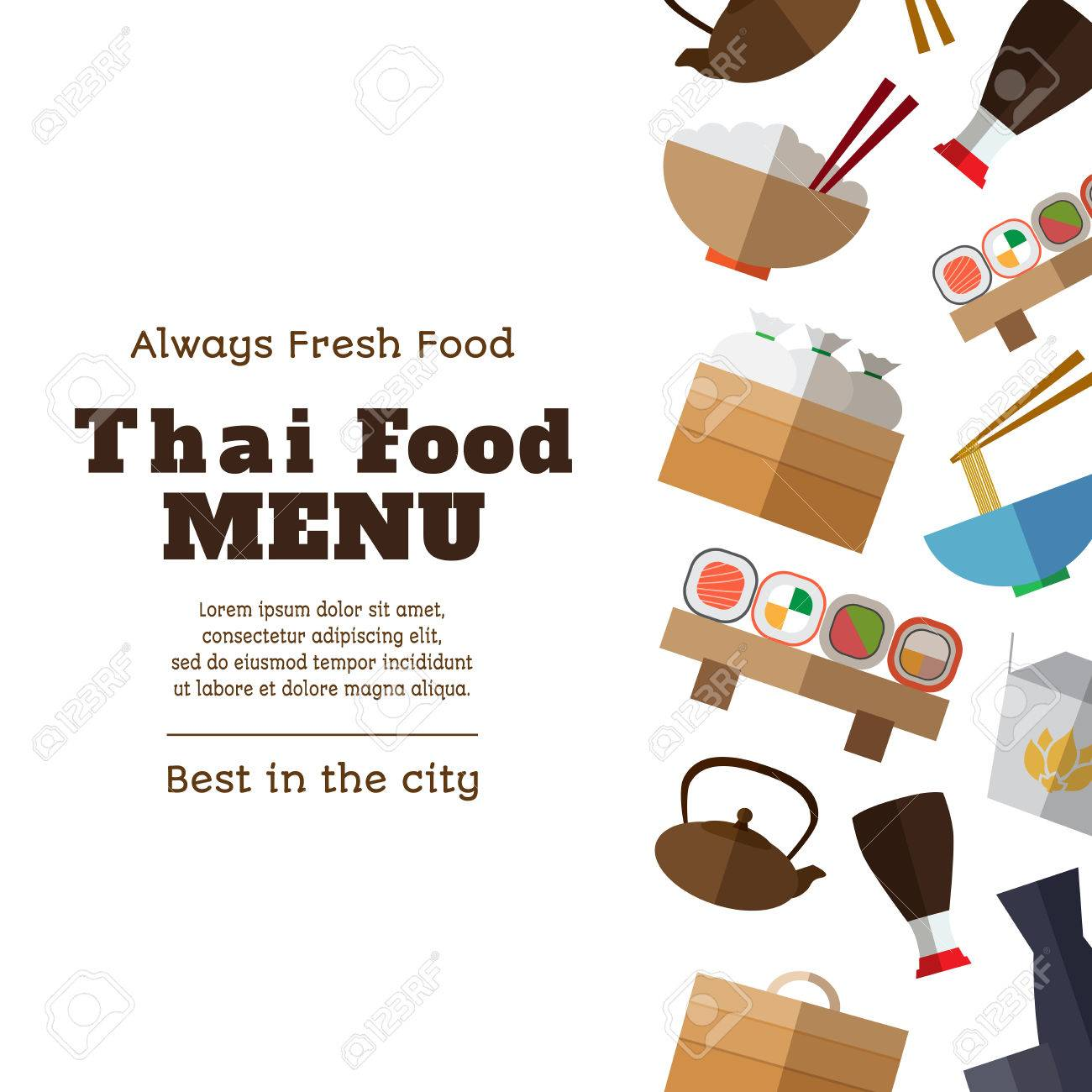 Thai Food Menu Template With Simple Flat Asian Food And Equipment