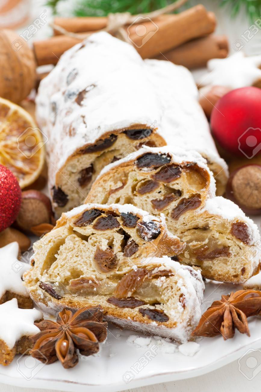 Christmas Stollen With Dried Fruit Cookies And Spices Vertical