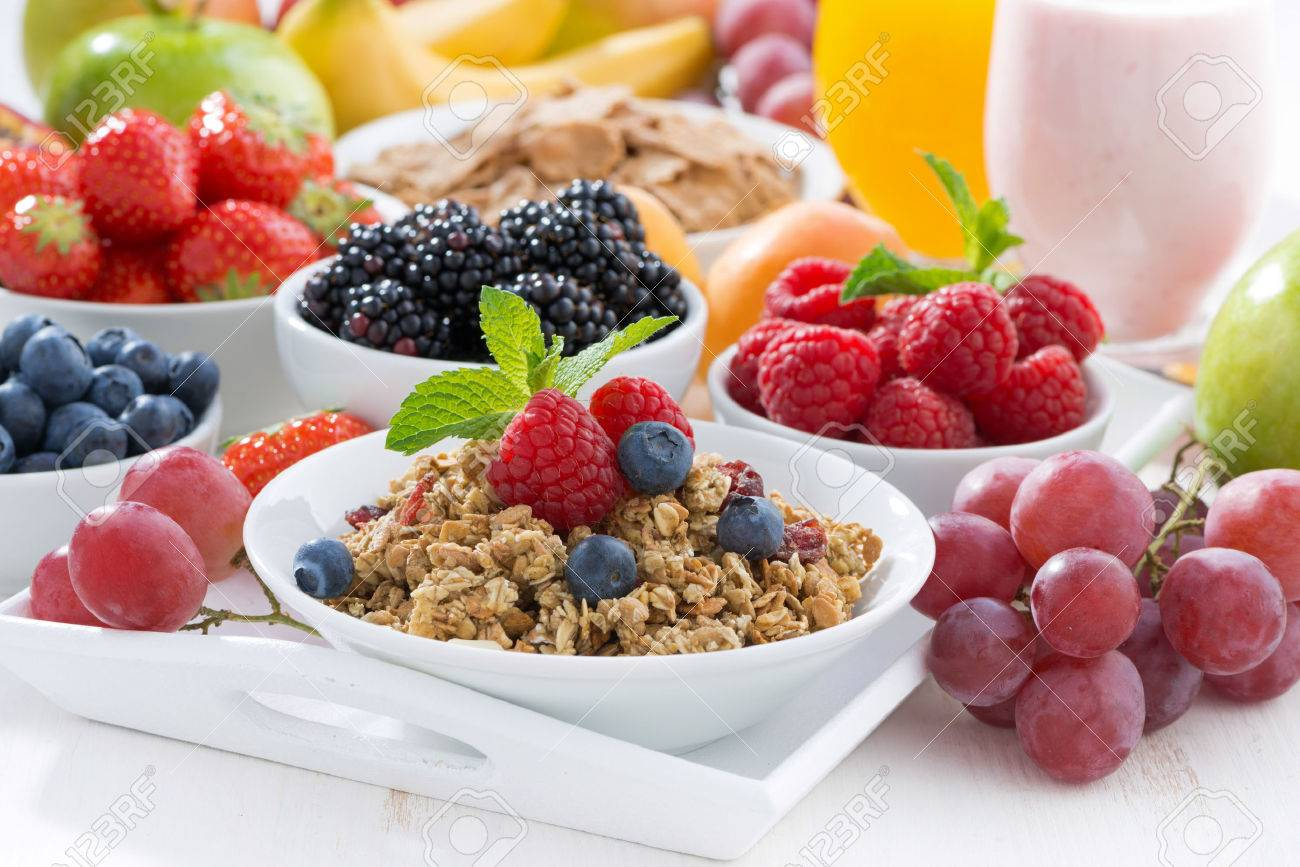 Delicious and healthy breakfast with fruits, berries and cereal, horizontal - 42441498