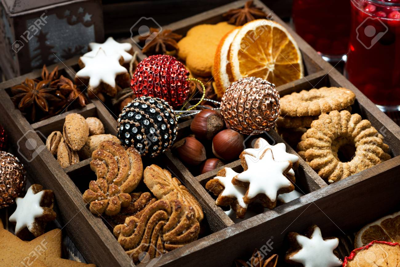 Christmas Sweets.Wooden Box With Christmas Sweets And Spices Closeup