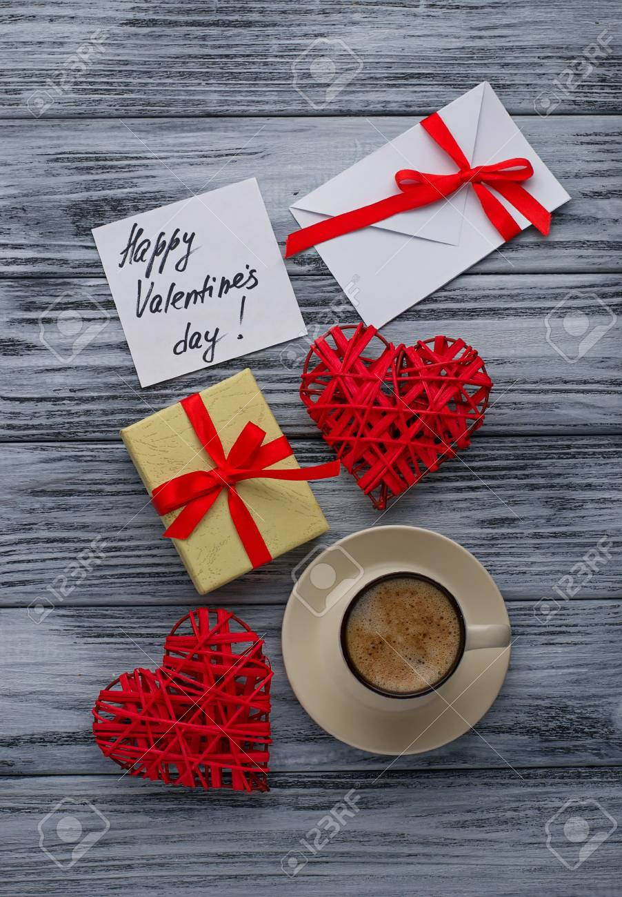 Hearts Cup Of Coffee Gift Box And Card With Message Happy Valentines