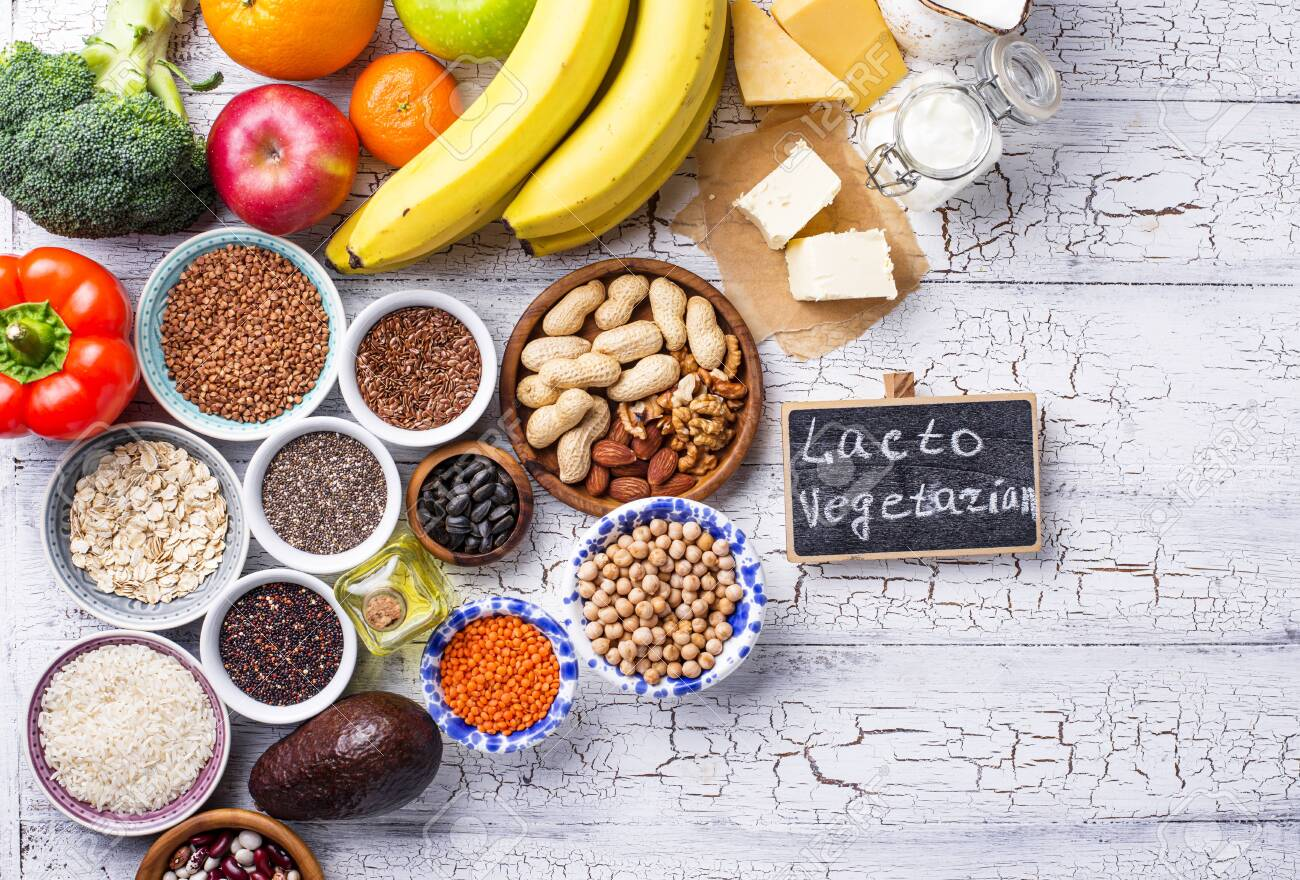 Lacto Vegetarian Diet Concept Fruits Vegetables Dairy Products Stock Photo Picture And Royalty Free Image Image 138836892