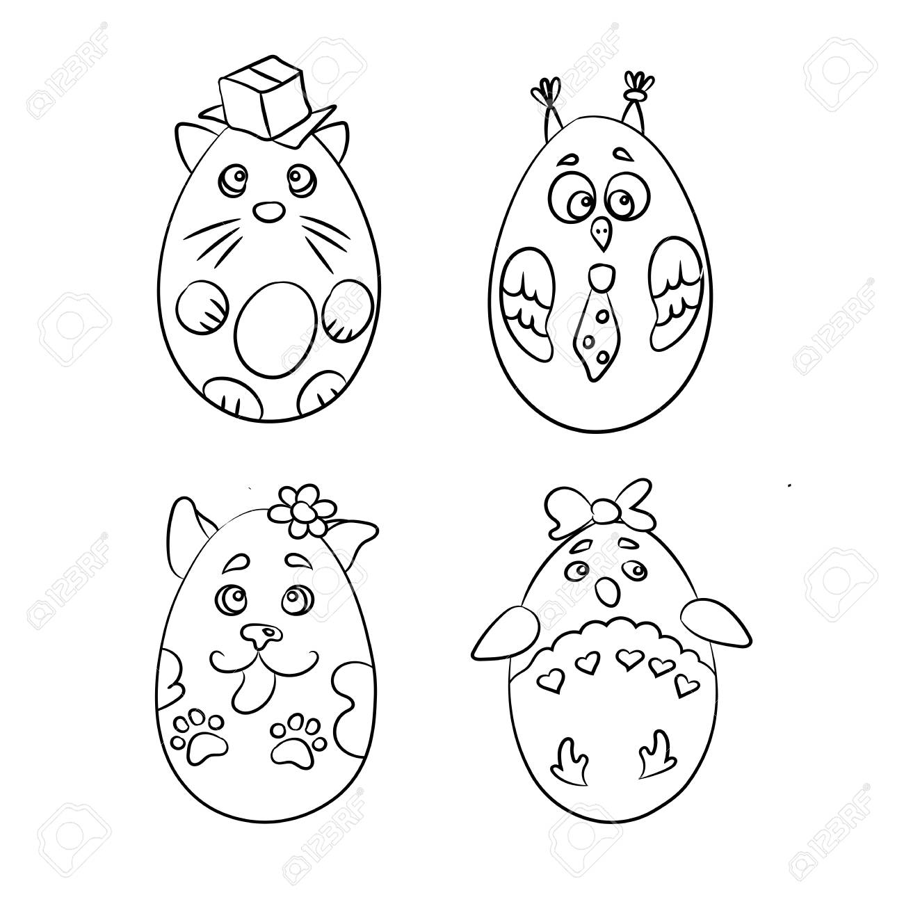 Set With 4 Cute Animals In A Shape Of Easter Eggs For Coloring ...