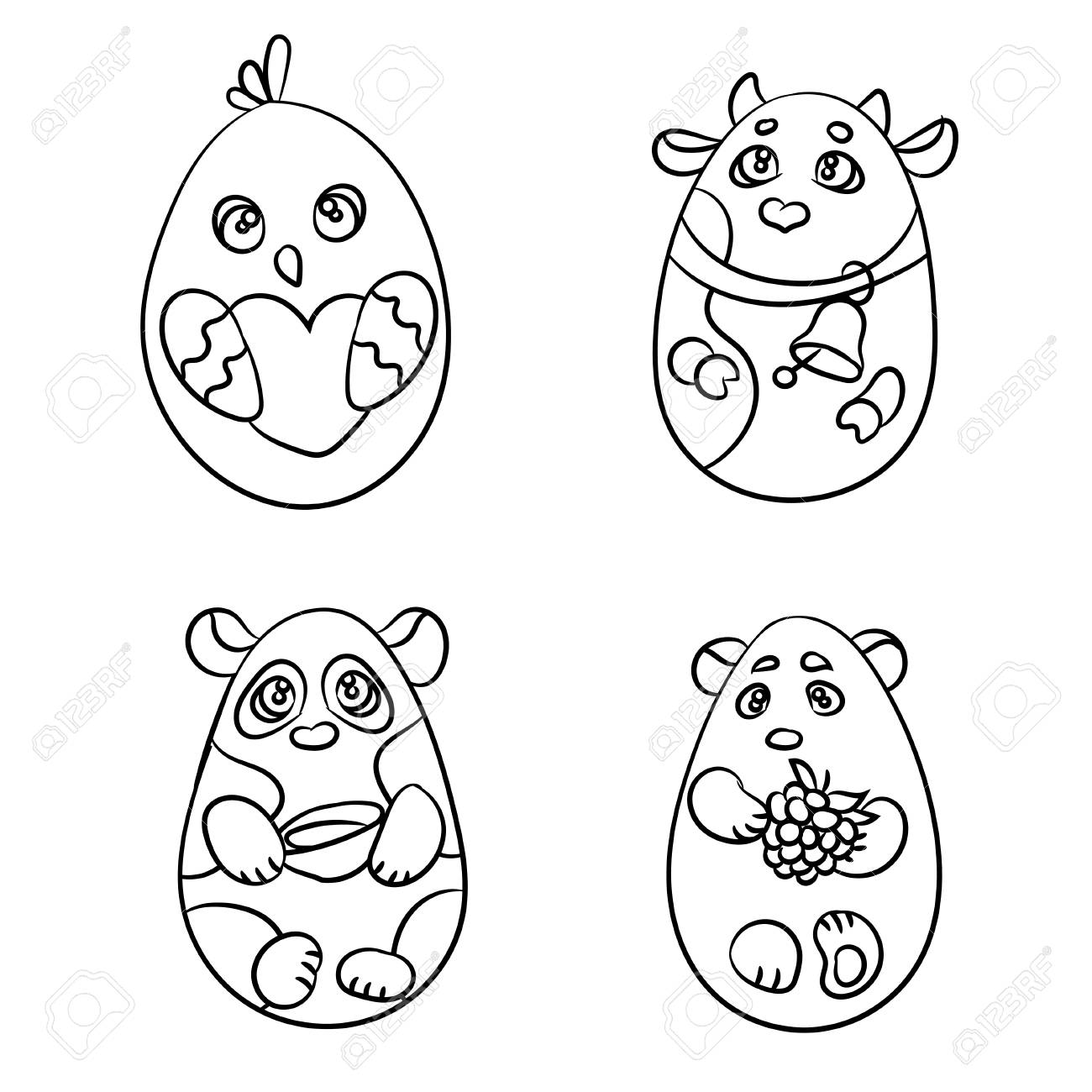 Coloring page set of 4 cute animals in a shape of easter egg there are