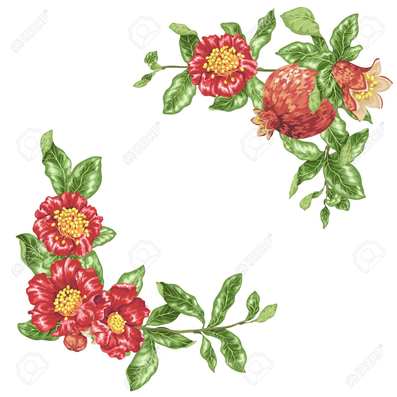 Template in vector illustration with pomegranate flowers in angle decor elements - 121551186