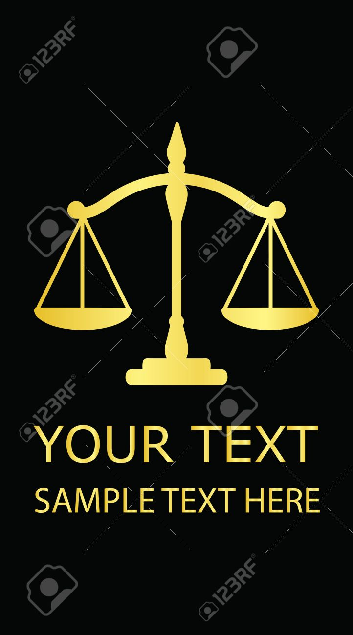 Vector illustration gold justice scales (business card) - 12358022