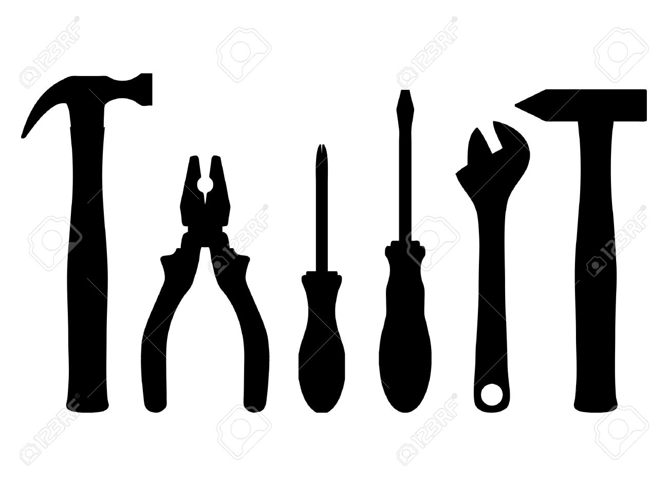 Wrench Black Vector Vector - Vector illustration