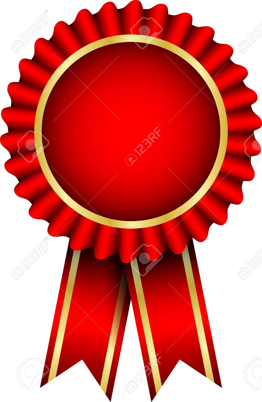 red badge with ribbon Stock Vector - 12670643