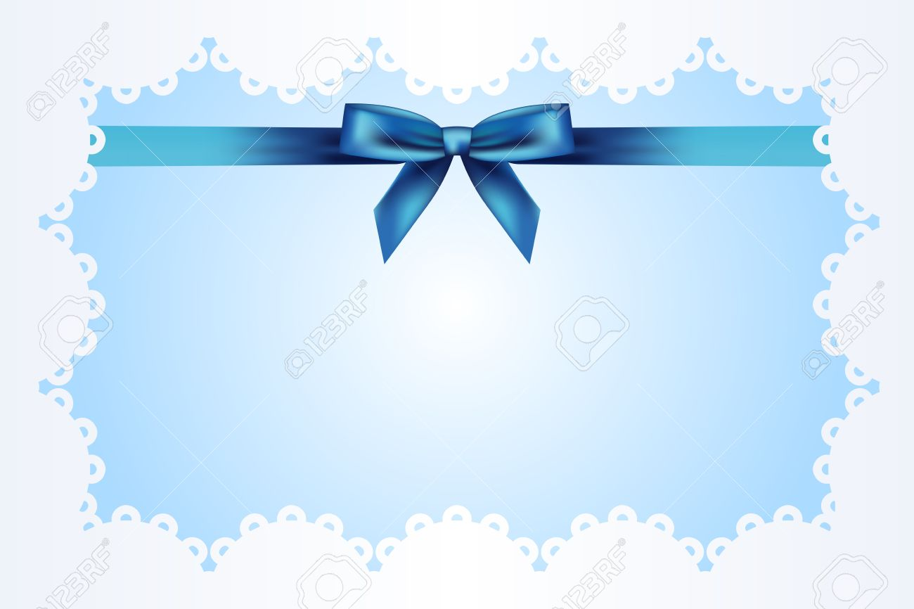 Blue background with lace and ribbon Stock Vector - 13320915