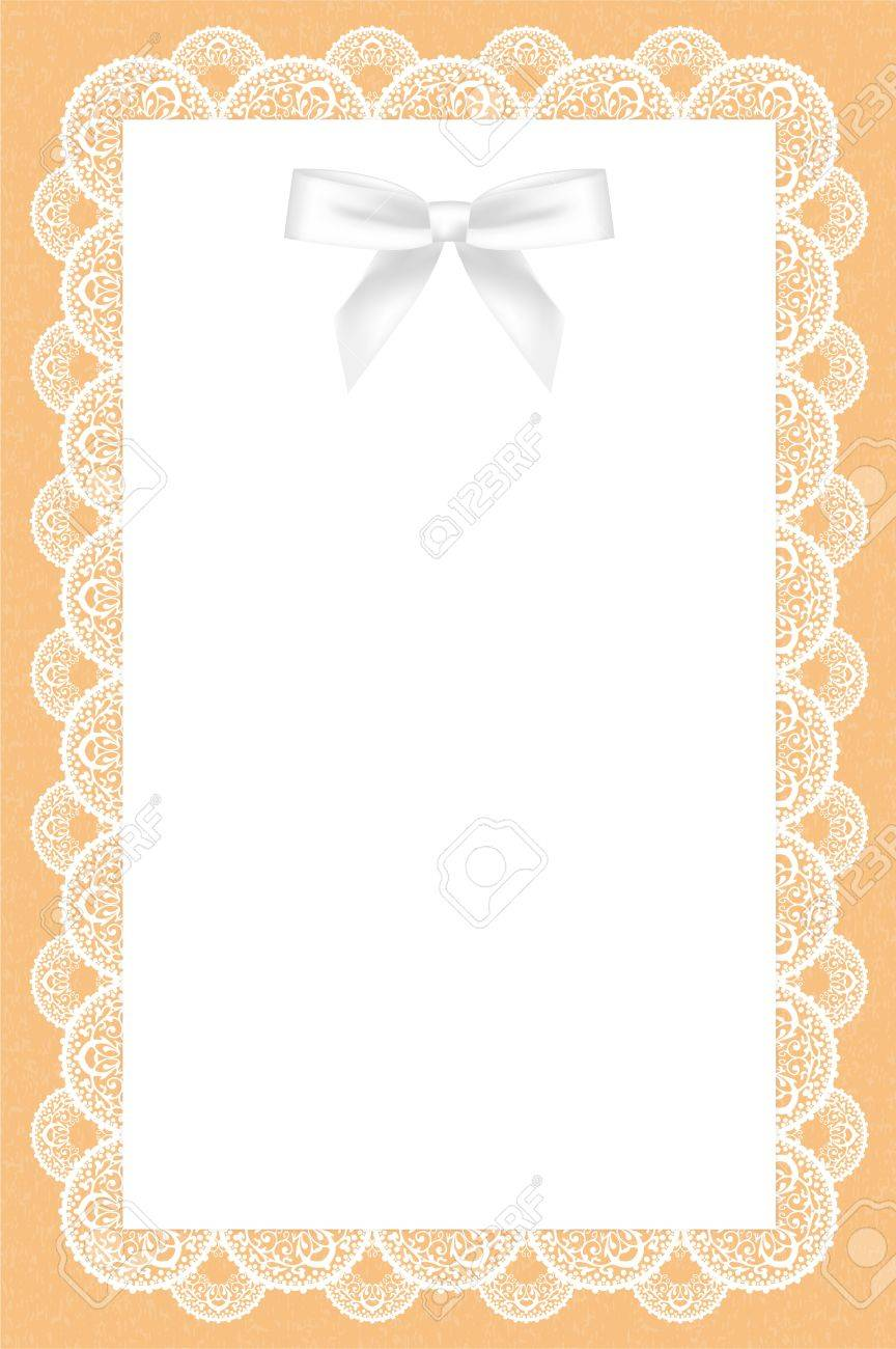 lace background with white bow Stock Vector - 13531622