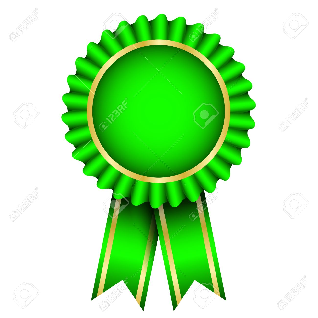 vector illustration of green badge with ribbon royalty free