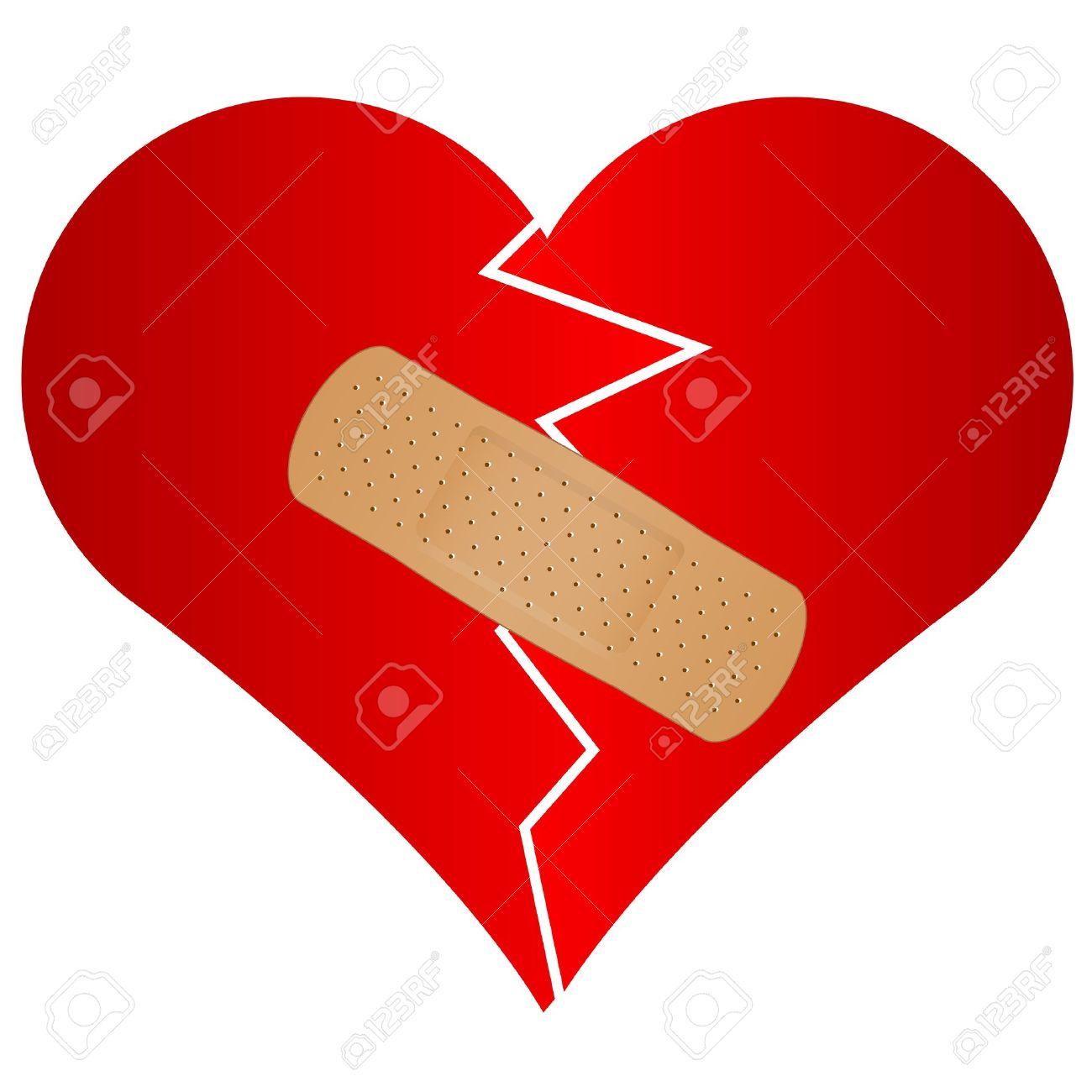 Vector illustration of broken heart with plaster Stock Vector - 13715766