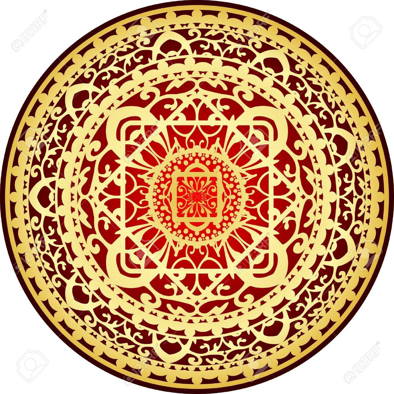 Illustration Of Oriental Red Gold Rug Stock Vector