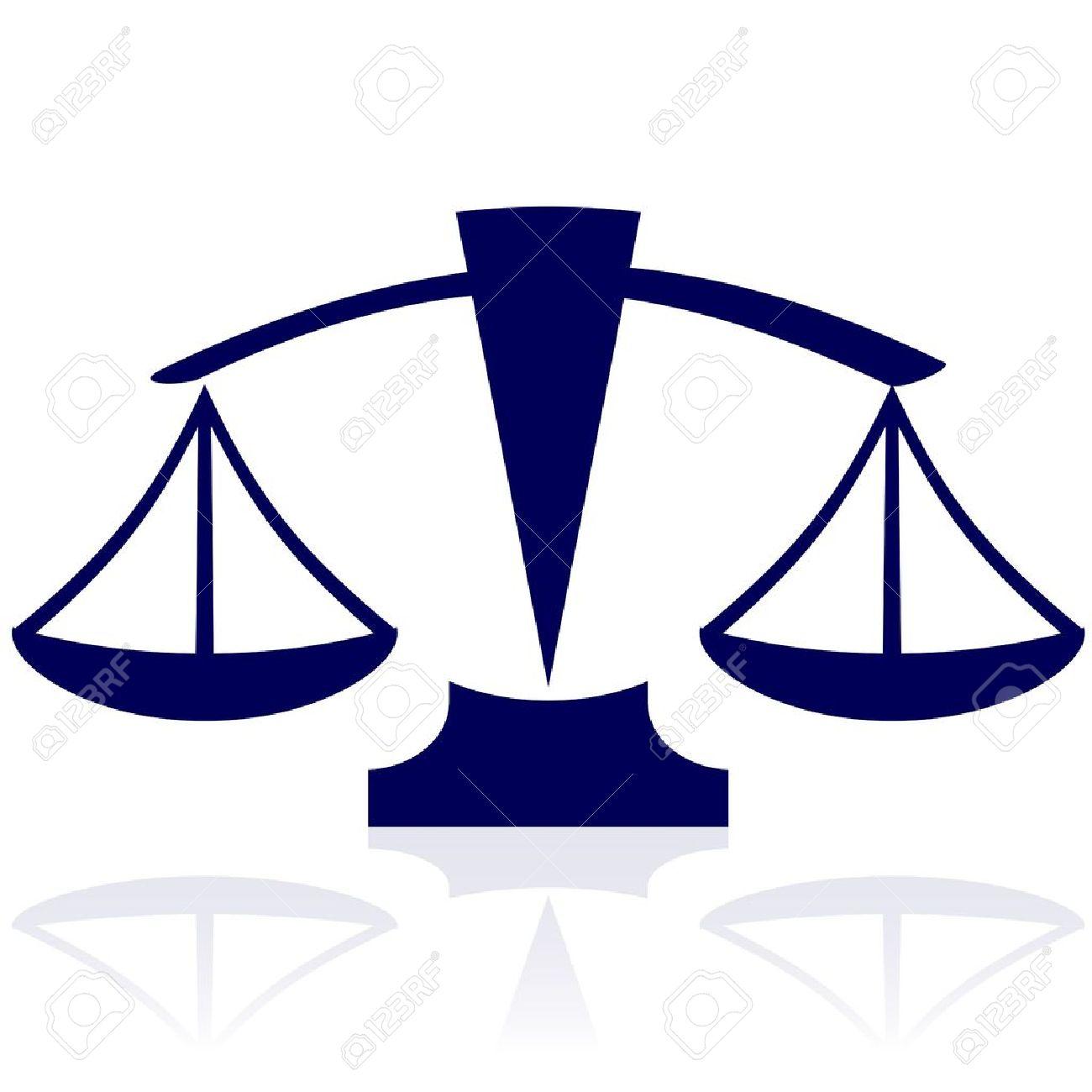 Justice scales - vector blue icon Stock Vector - 14181357