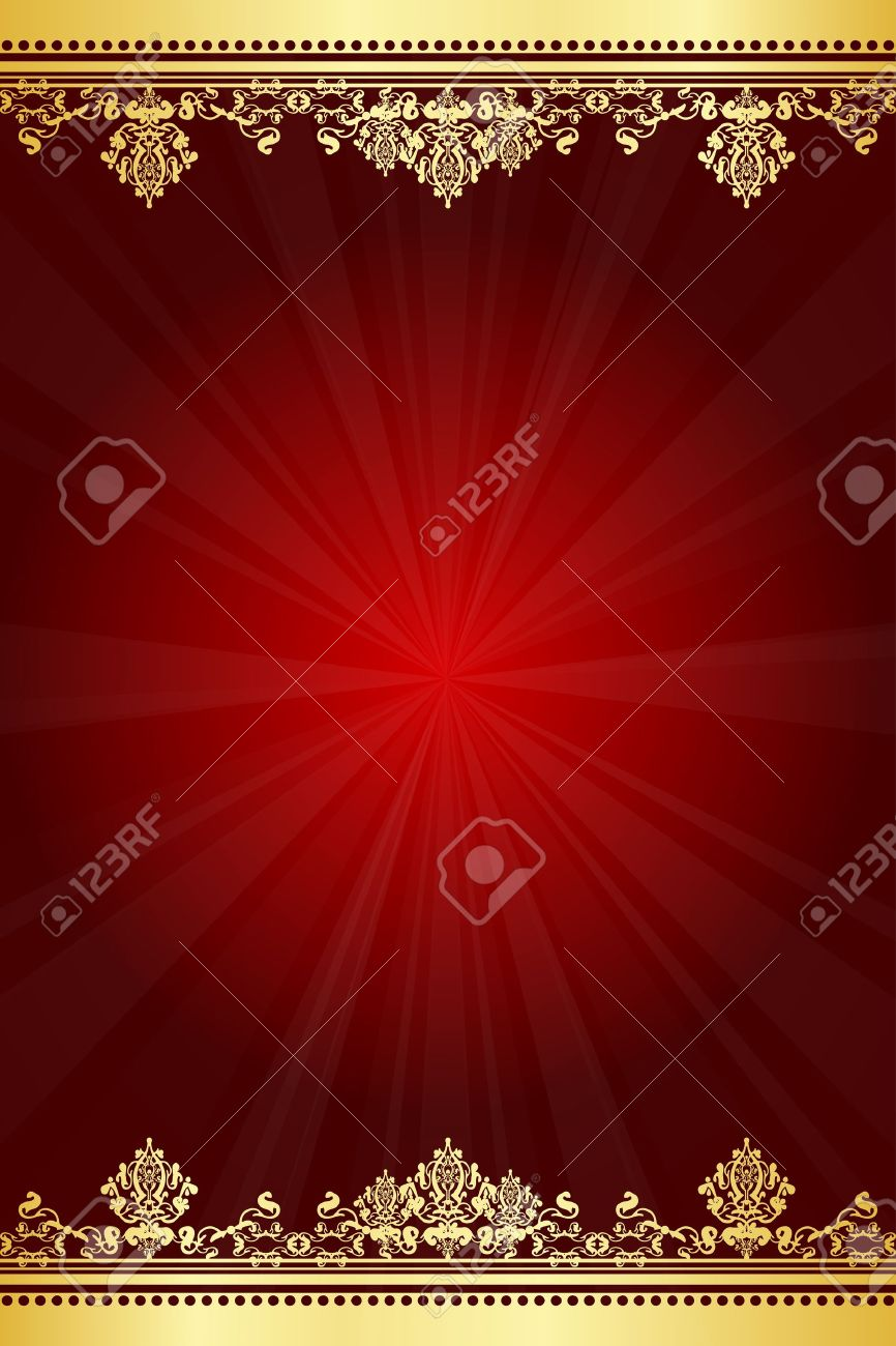 Vector red and gold frame Stock Vector - 14194617