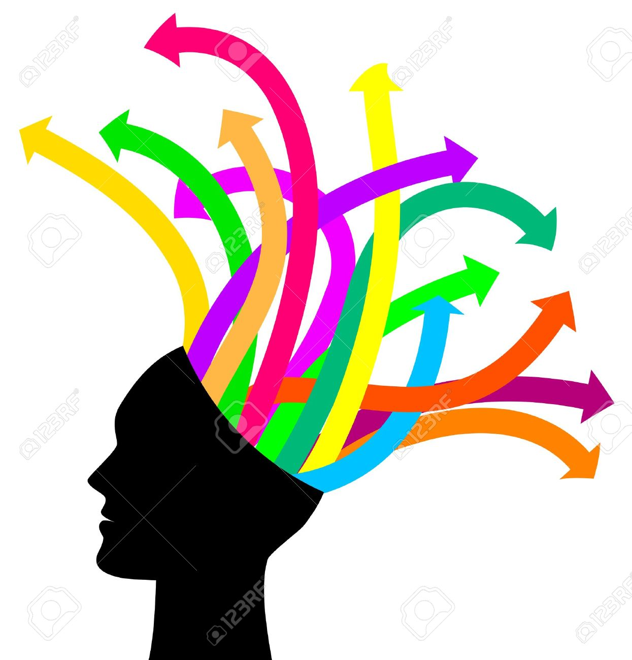 Thoughts and options - vector illustration of head with arrows Stock Vector - 15200886